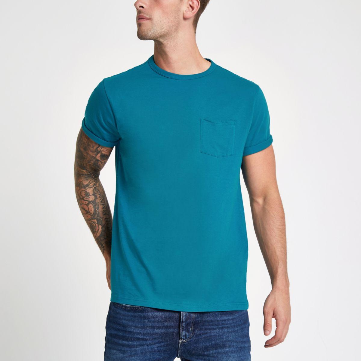 Turquoise crew neck chest pocket T-shirt