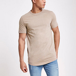 T-shirt long marron chiné ras-du-cou