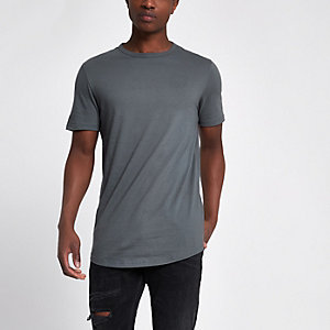 Dunkelgraues, langes T-Shirt mit abgerundetem Saum