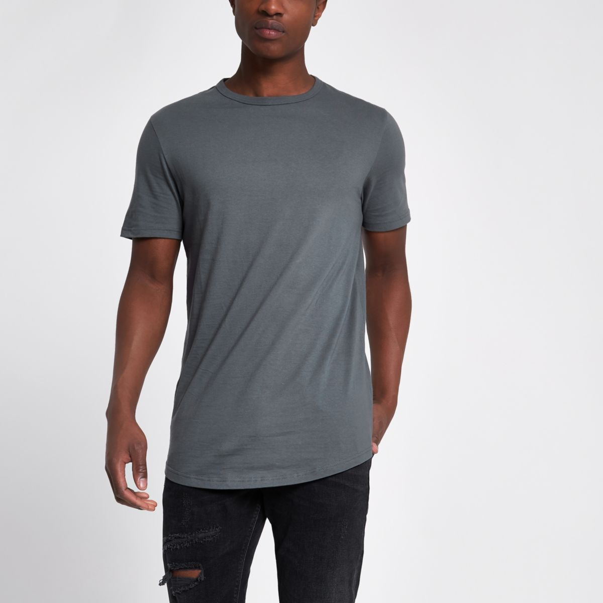 Dark grey longline curved hem T-shirt