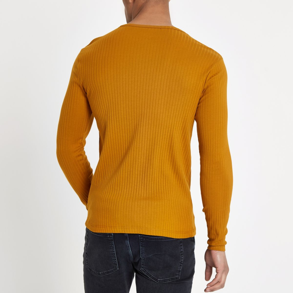 yellow Dark shirt ribbed slim fit T 8qxwaAqdv