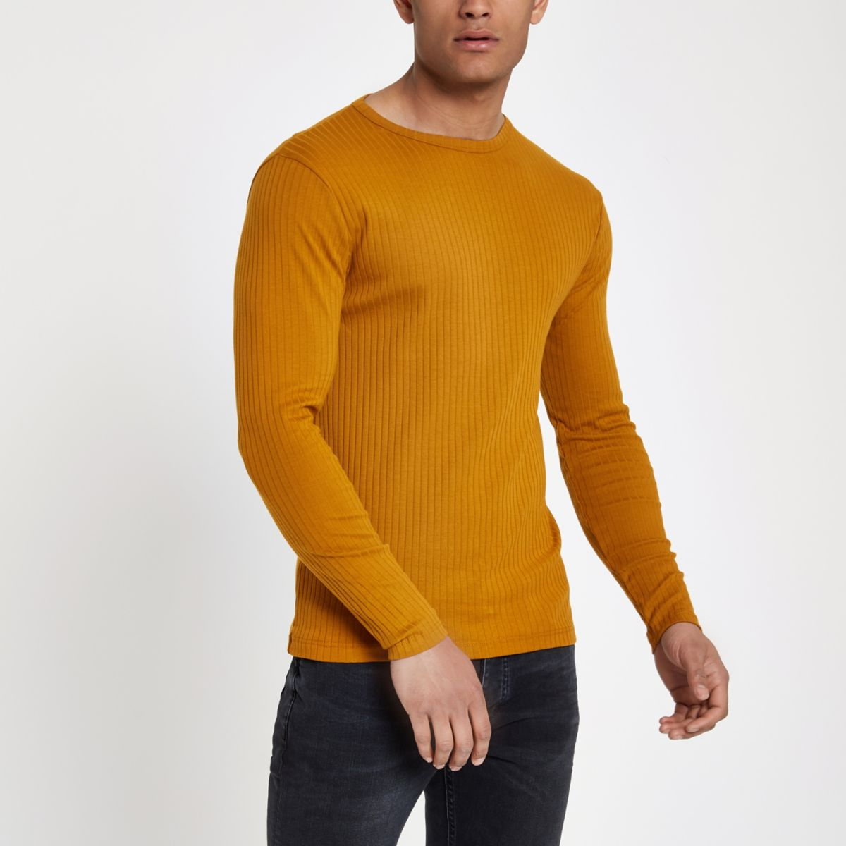 Dark yellow ribbed slim fit T-shirt