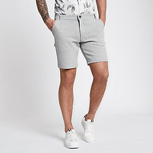 Grijze tailored slim-fit short van piqué-stof