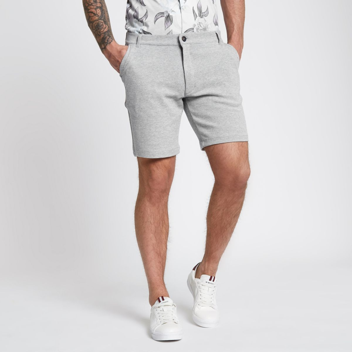 Grey tailored pique slim fit shorts