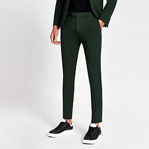 Dark green super skinny suit pants