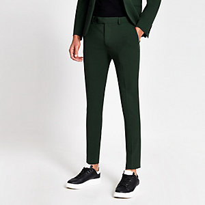Donkergroene superskinny pantalon