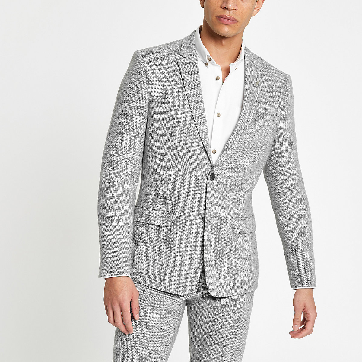 Grey herringbone skinny suit jacket
