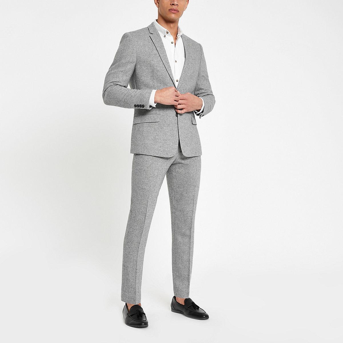 Grey herringbone skinny fit suit pants