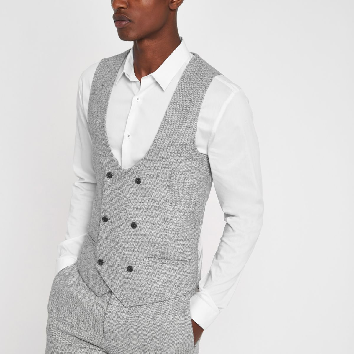 Grey herringbone double-breasted vest