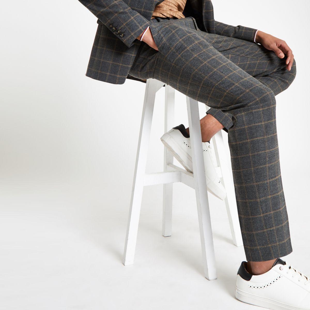 Dark grey check skinny suit trousers