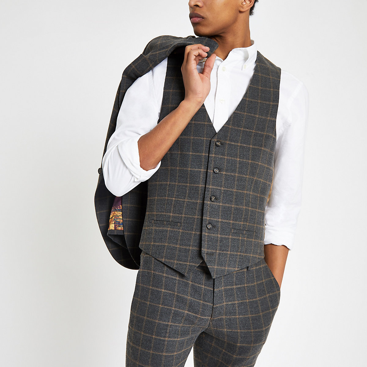 Dark grey check suit vest