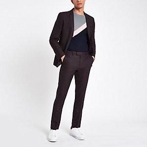 Dark purple skinny fit suit trousers
