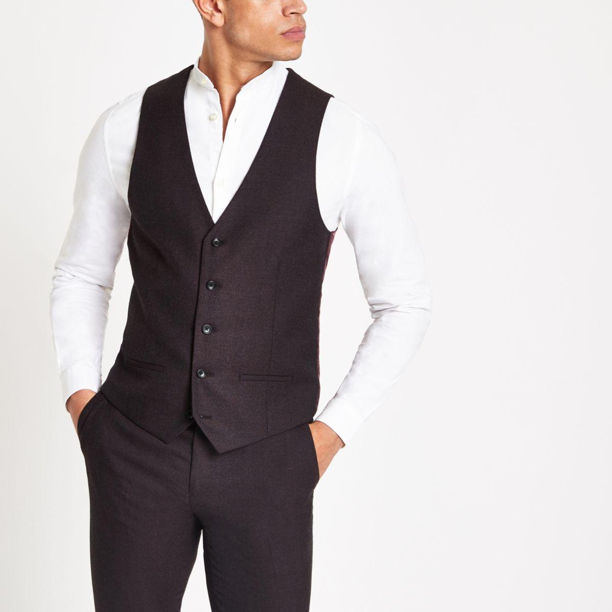 Dark purple suit waistcoat