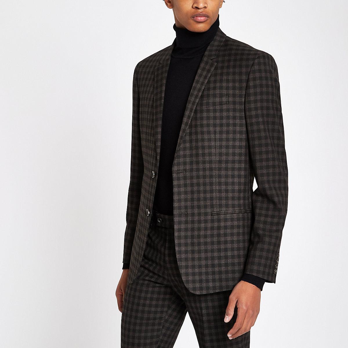 Brown check skinny fit suit jacket