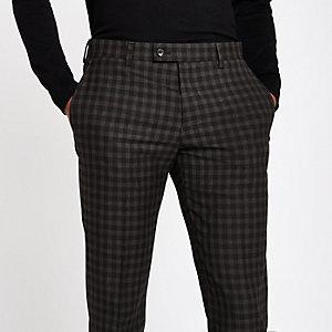 Pantalon de costume skinny à carreaux marron effet ombré