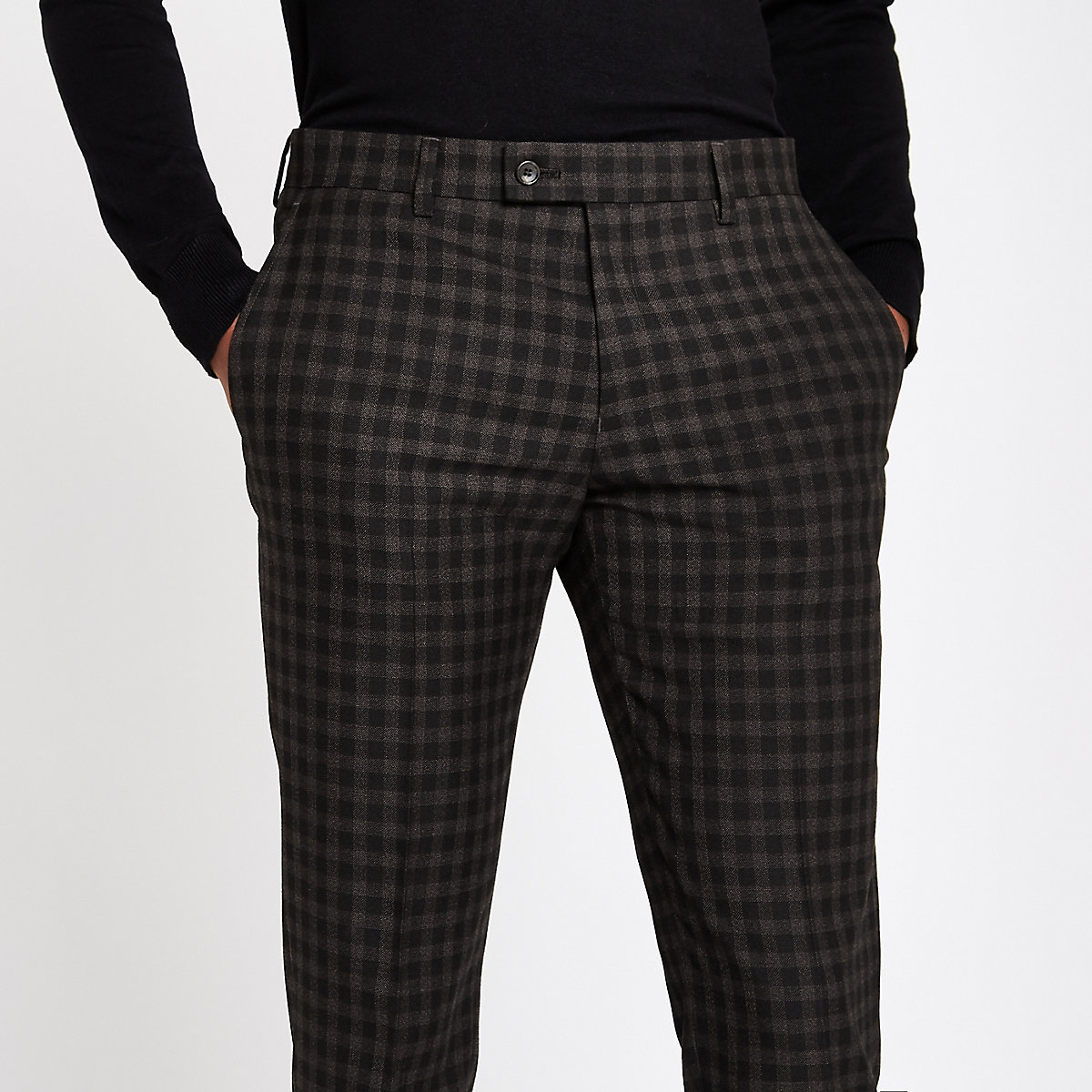 Brown shadow check skinny fit suit trousers