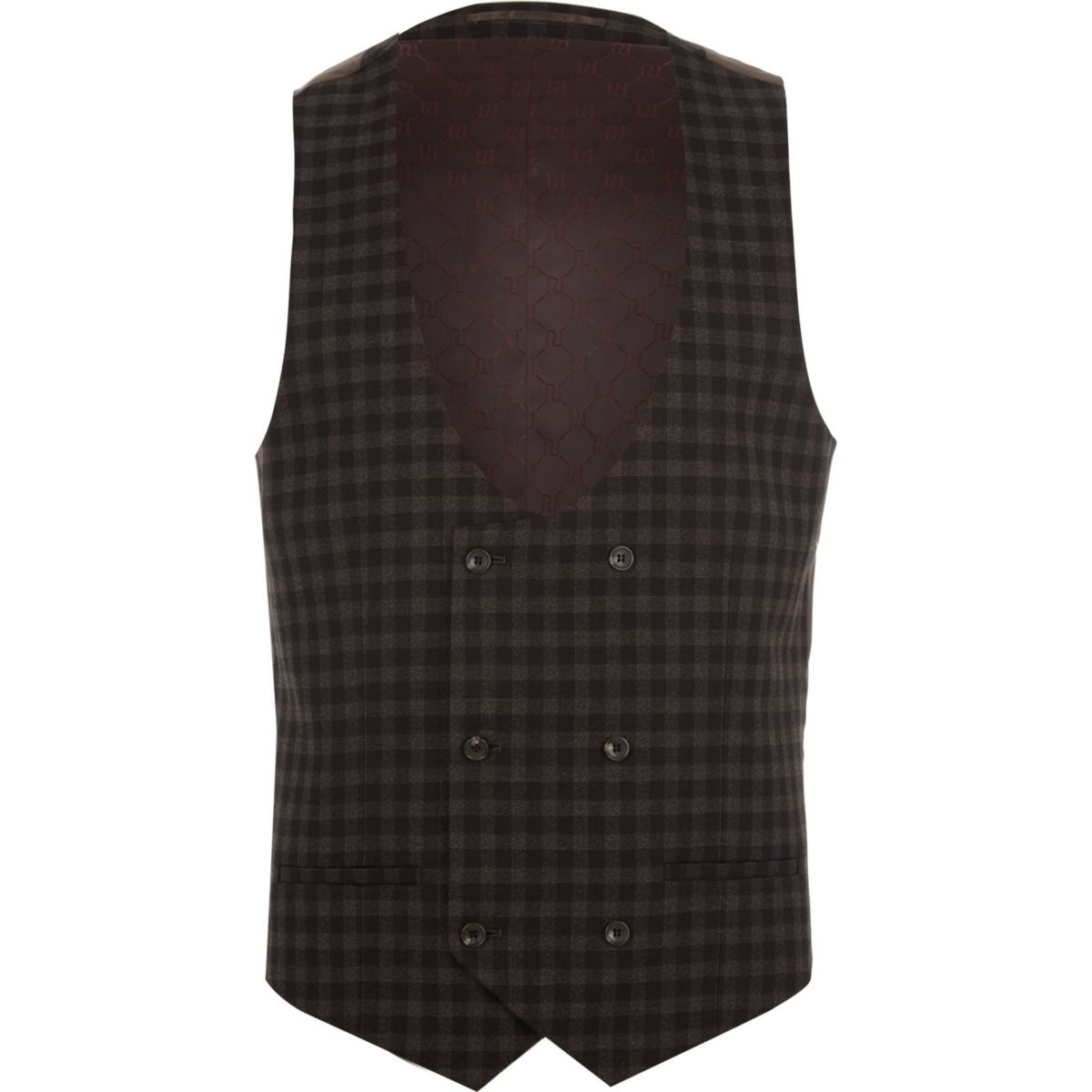 breasted check Brown suit double waistcoat wqgXHxv4