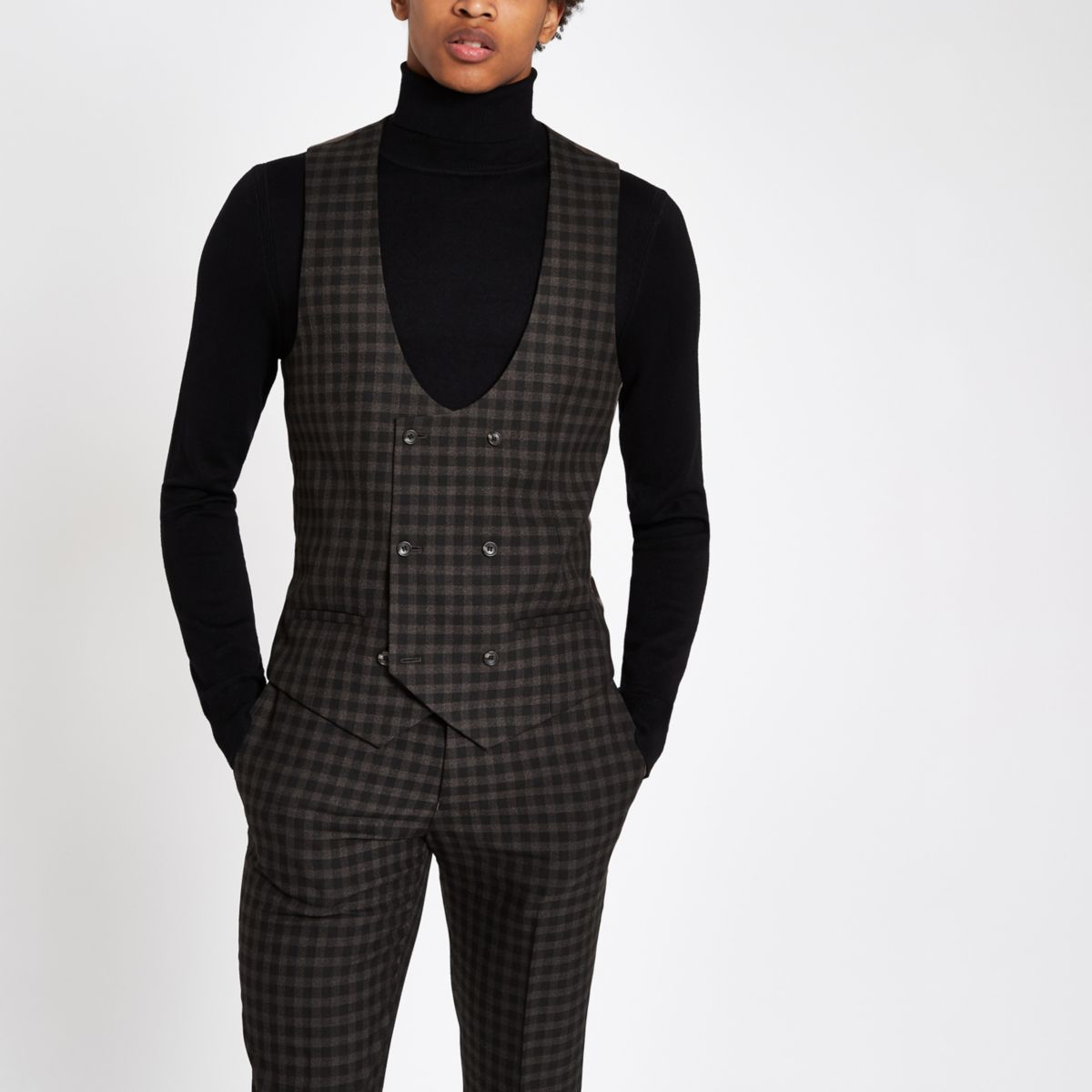 Brown check double-breasted suit waistcoat