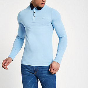Blaues Muscle Fit Polohemd