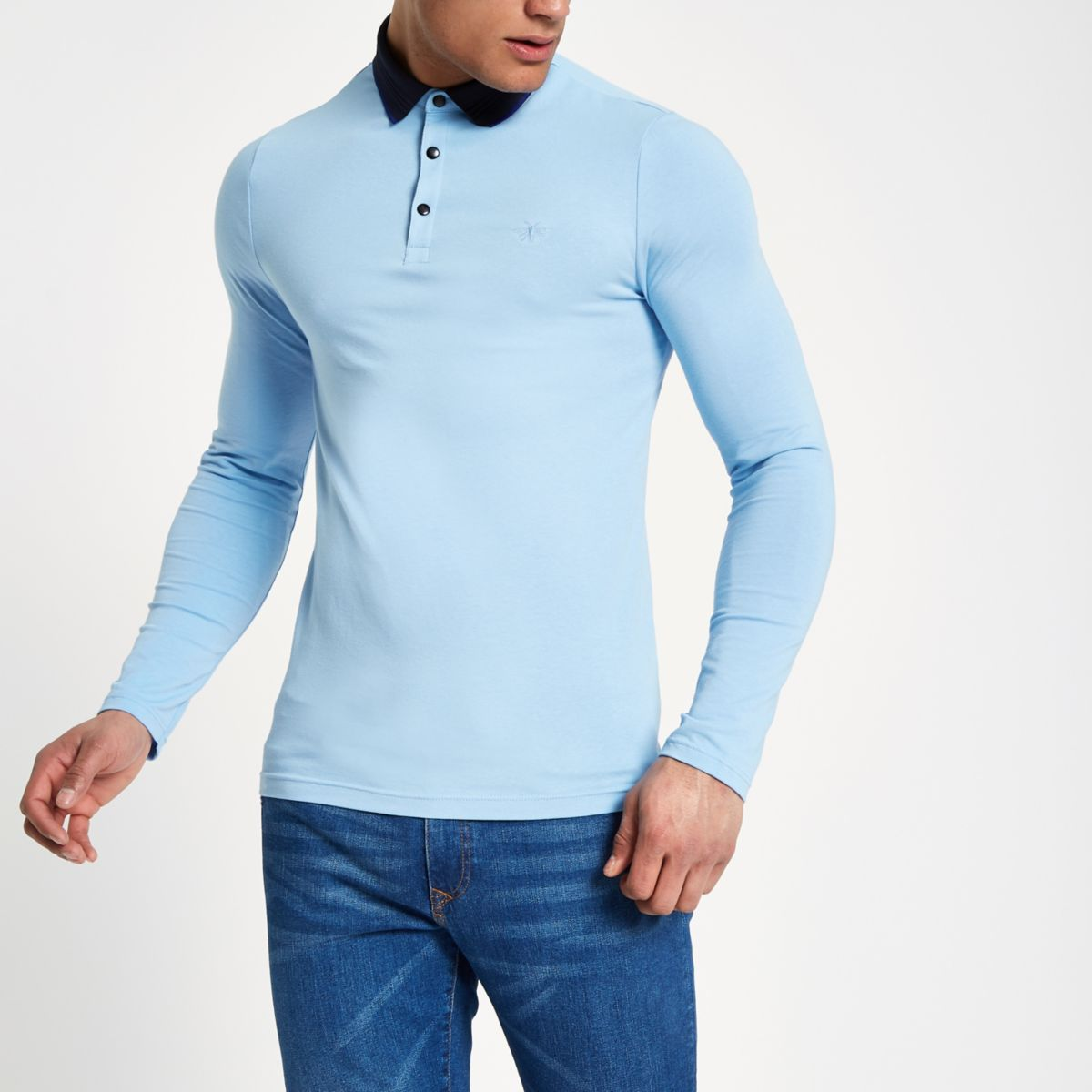 Blue contrast muscle fit polo shirt