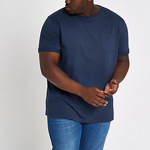 RI Big and Tall - Marineblauw T-shirt met borstzakje