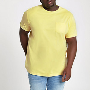 Big and Tall yellow crew pocket T-shirt