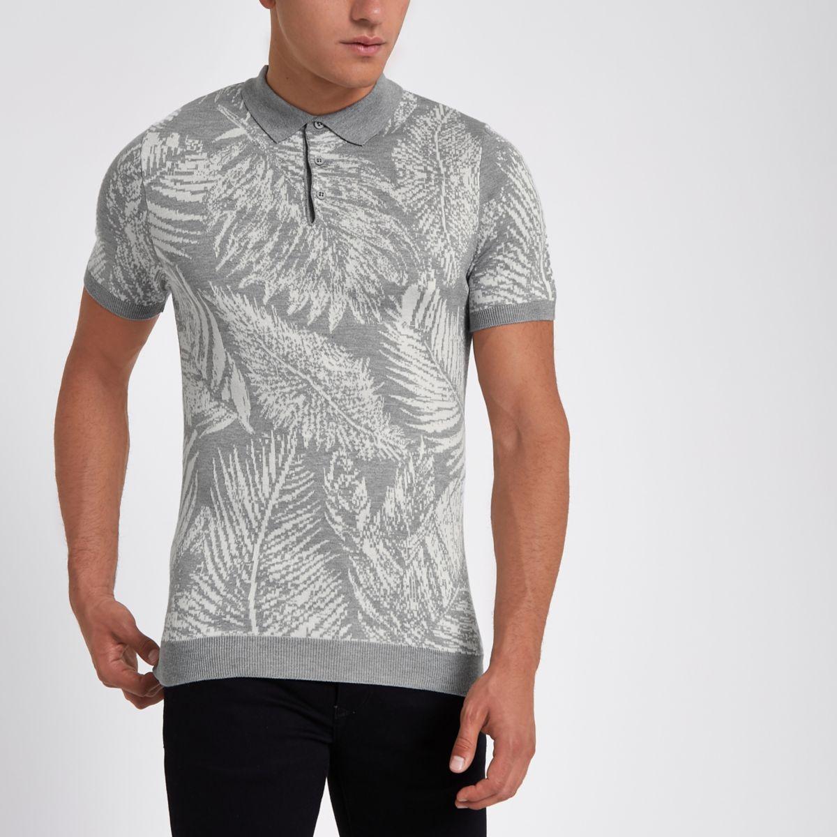 Grey palm print slim fit polo shirt