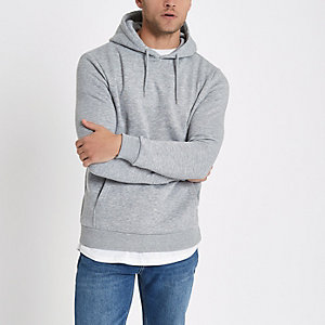 Grey marl slim fit hoodie