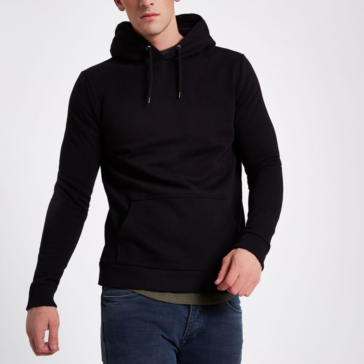 Black long sleeve slim fit hoodie