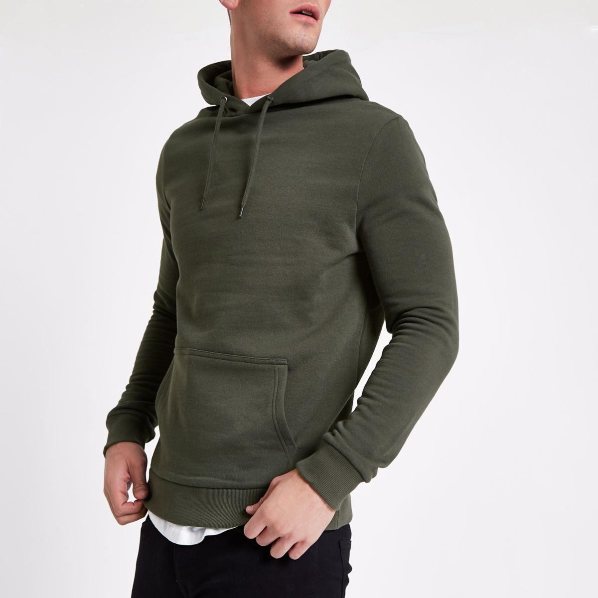 Khaki green slim fit hoodie