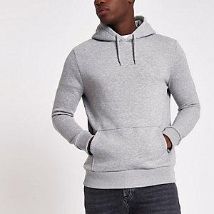 Grijze gemêleerde regular-fit hoodie