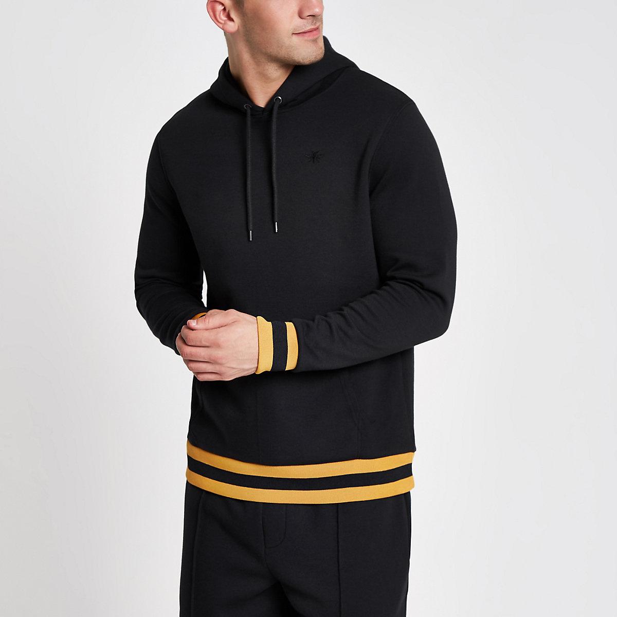 Navy yellow stripe slim fit hoodie