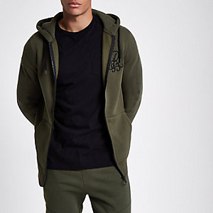 Khaki green 'R95' zip up hoodie