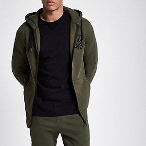 Kakigroene hoodie met rits en 'R95'-print