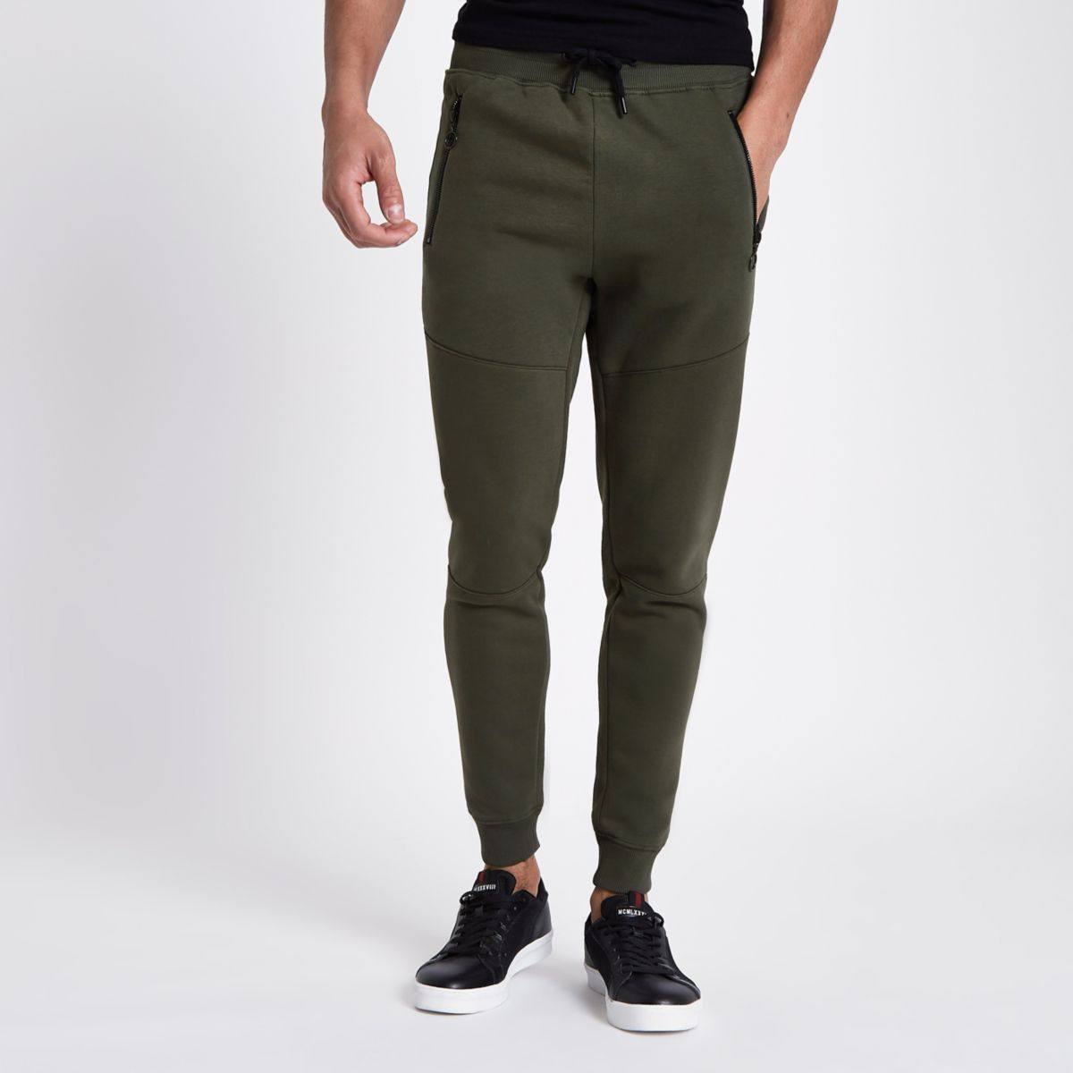 Khaki green jersey muscle fit joggers
