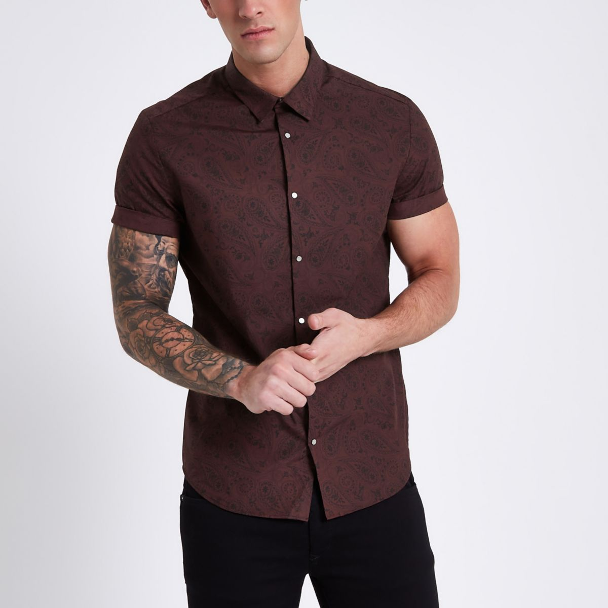 Dark red slim fit floral print shirt