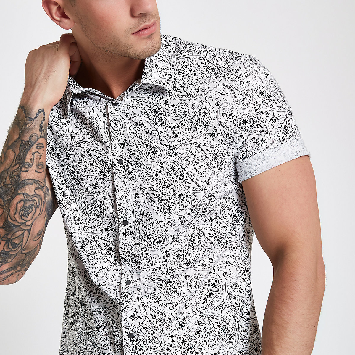 White paisley slim fit popper button shirt