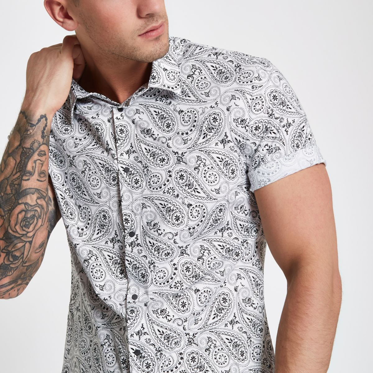 White paisley slim fit popper button shirt