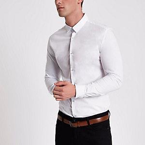 Chemise manches longues ajustée blanche
