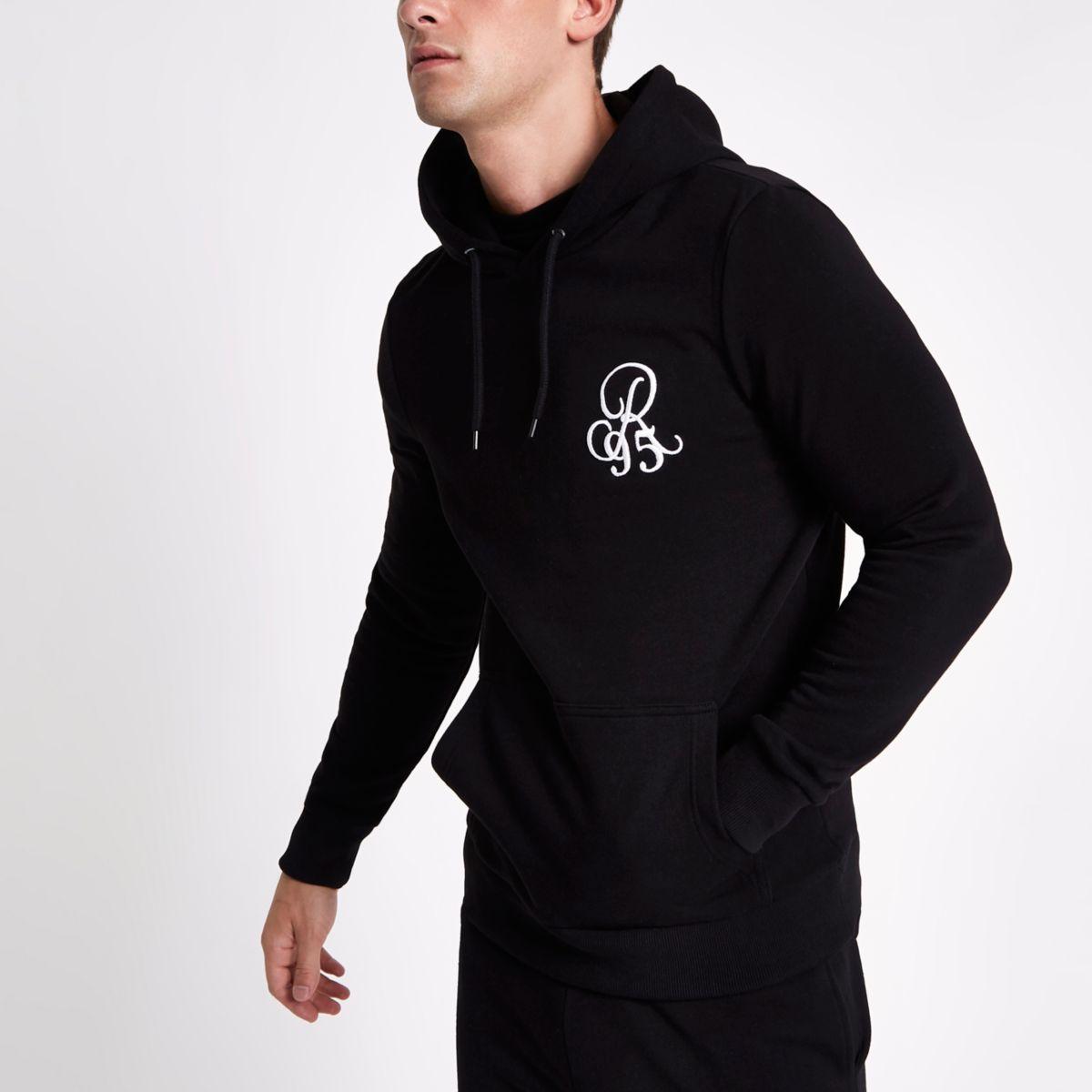 Black muscle fit R95 hoodie