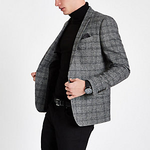 Grauer, karierter Skinny Fit Blazer