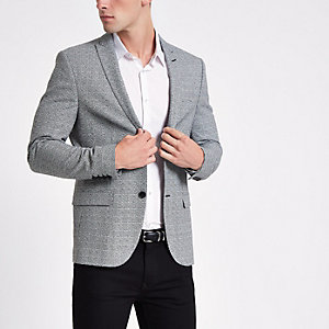 Grey check super skinny fit blazer