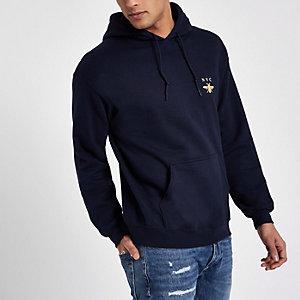 Navy 'NYC' wasp print hoodie