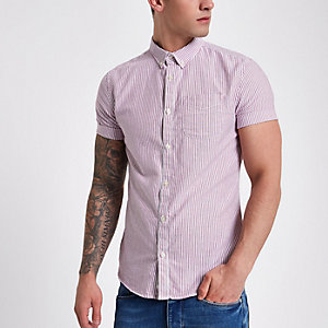 Berry stripe short sleeve Oxford shirt