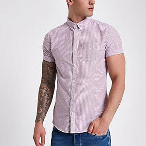 Bessenrood Oxford overhemd met korte mouwen en strepenprint