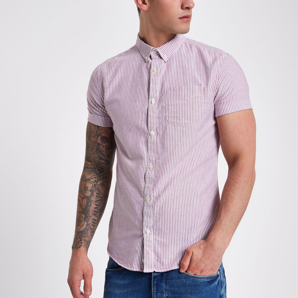 Berry stripe short sleeve Oxford shirt