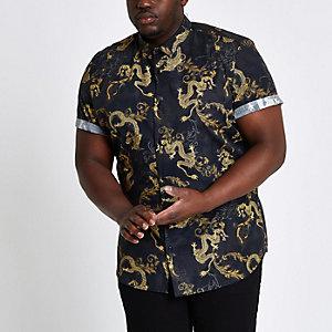 Big and Tall - Slim-fit overhemd met drakenprint