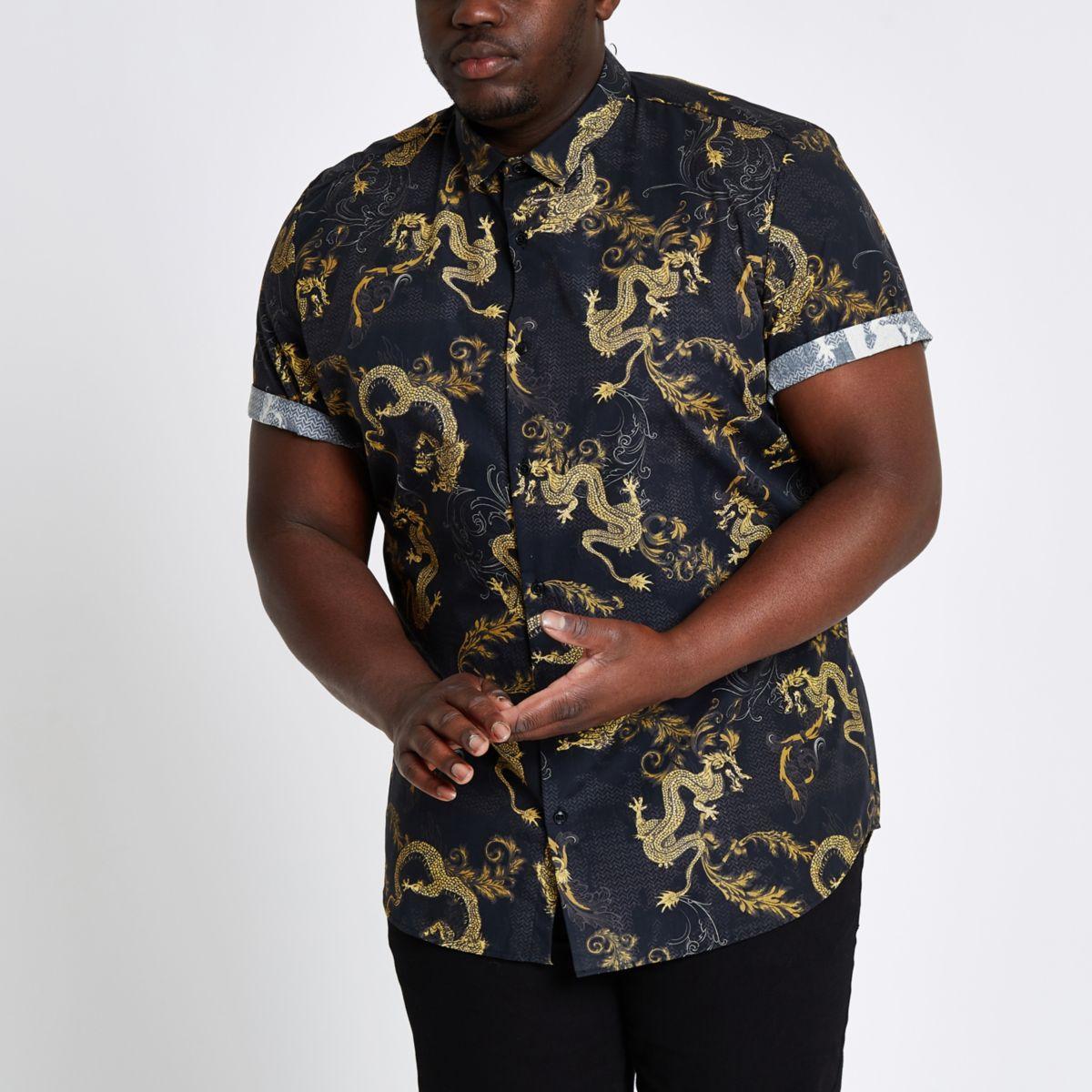 Big and Tall slim fit dragon print shirt