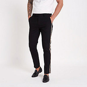 Black tape side skinny fit pants