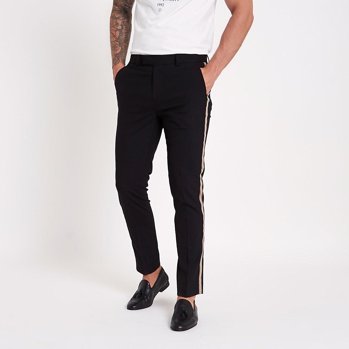 Black tape side skinny fit trousers